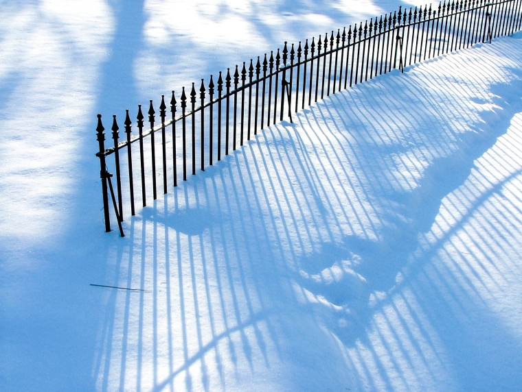 Fence Shadows On Snow